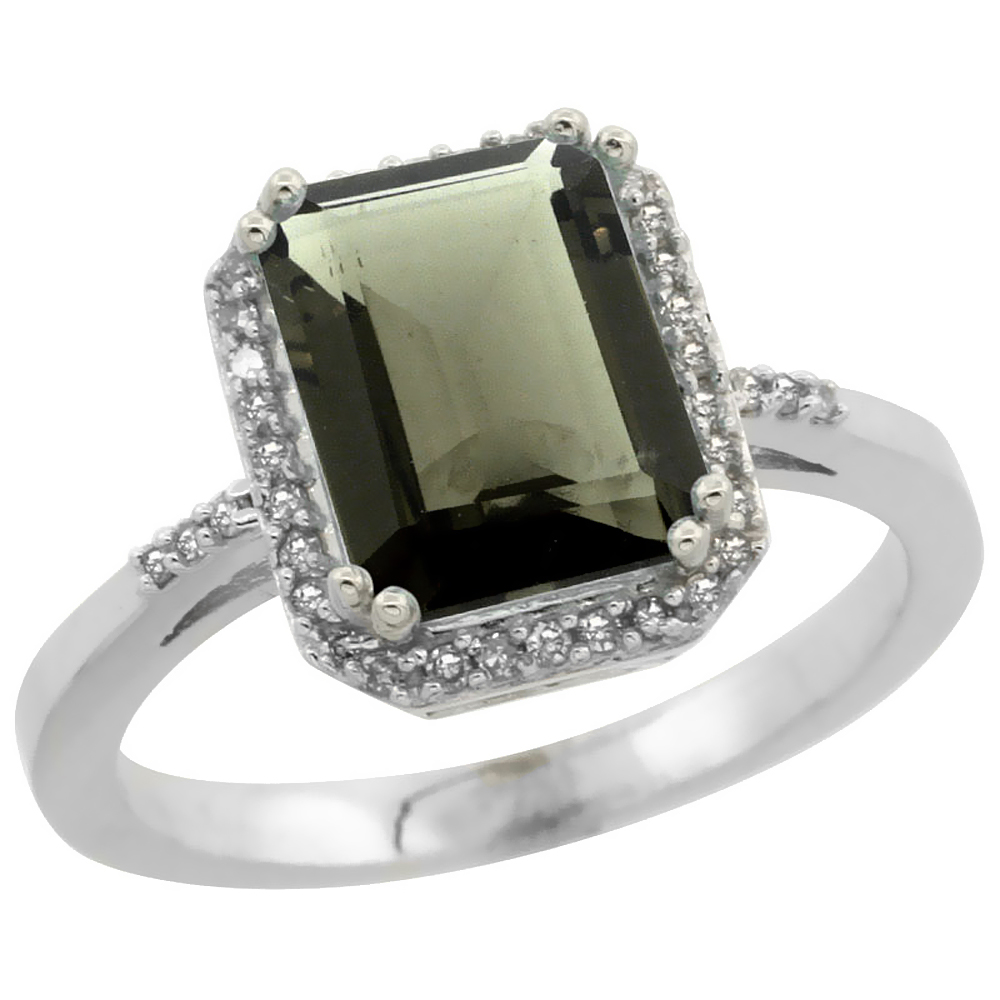 14K White Gold Diamond Natural Smoky Topaz Ring Emerald-cut 9x7mm, sizes 5-10