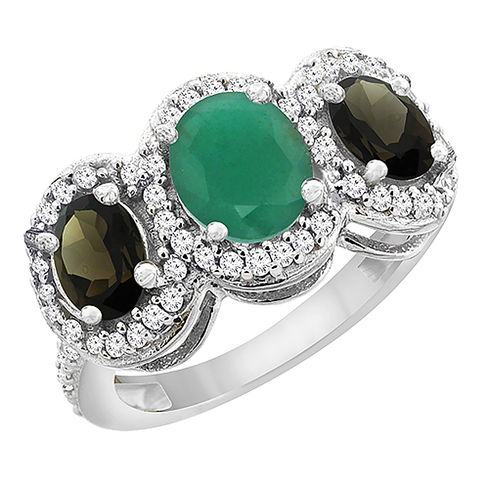 10K White Gold Natural Cabochon Emerald & Smoky Topaz 3-Stone Ring Oval Diamond Accent, sizes 5 - 10