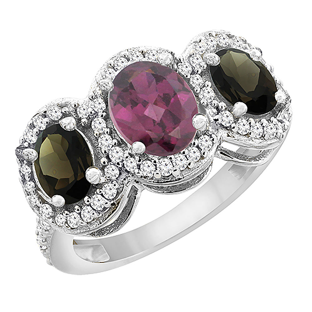 14K White Gold Natural Rhodolite & Smoky Topaz 3-Stone Ring Oval Diamond Accent, sizes 5 - 10