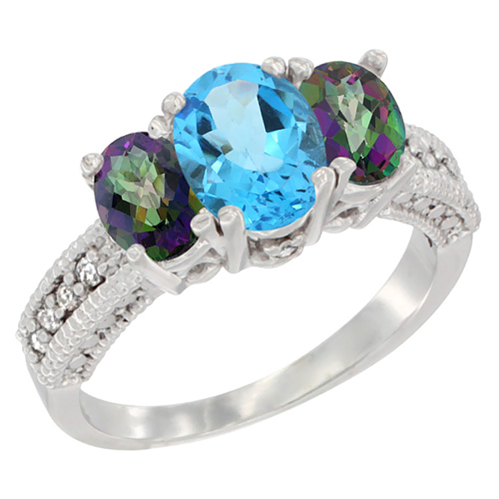 14k Yellow Gold Ladies Oval Natural Swiss Blue 3-Stone Ring with Mystic Topaz Sides Diamond Accent