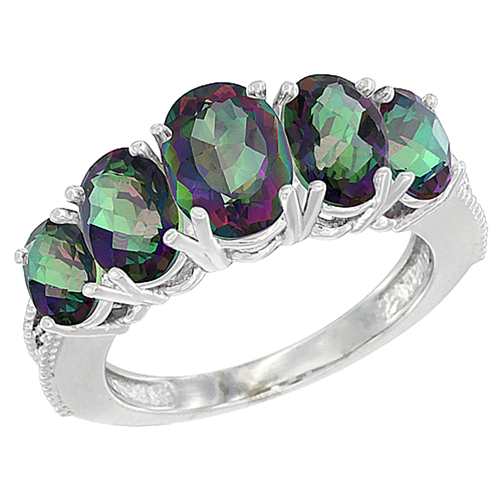 10K White Gold Diamond Natural Mystic Topaz Ring 5-stone Oval 8x6 Ctr,7x5,6x4 sides, sizes 5 - 10