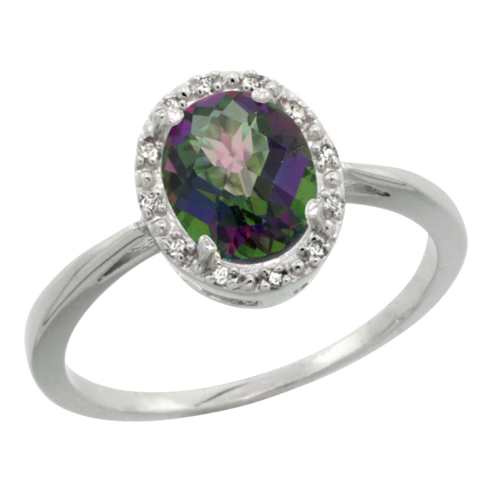 14K White Gold Natural Mystic Topaz Diamond Halo Ring Oval 8X6mm, sizes 5 10