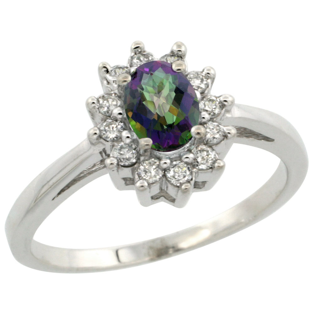 10K White Gold Natural Mystic Topaz Flower Diamond Halo Ring Oval 6x4 mm, sizes 5-10