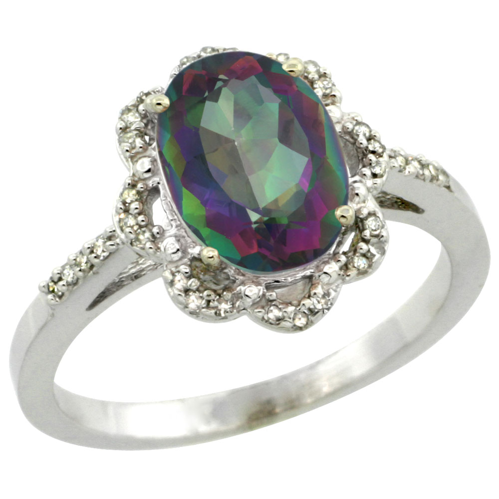 14K White Gold Natural Diamond Halo Mystic Topaz Engagement Ring Oval 9x7mm, sizes 5-10