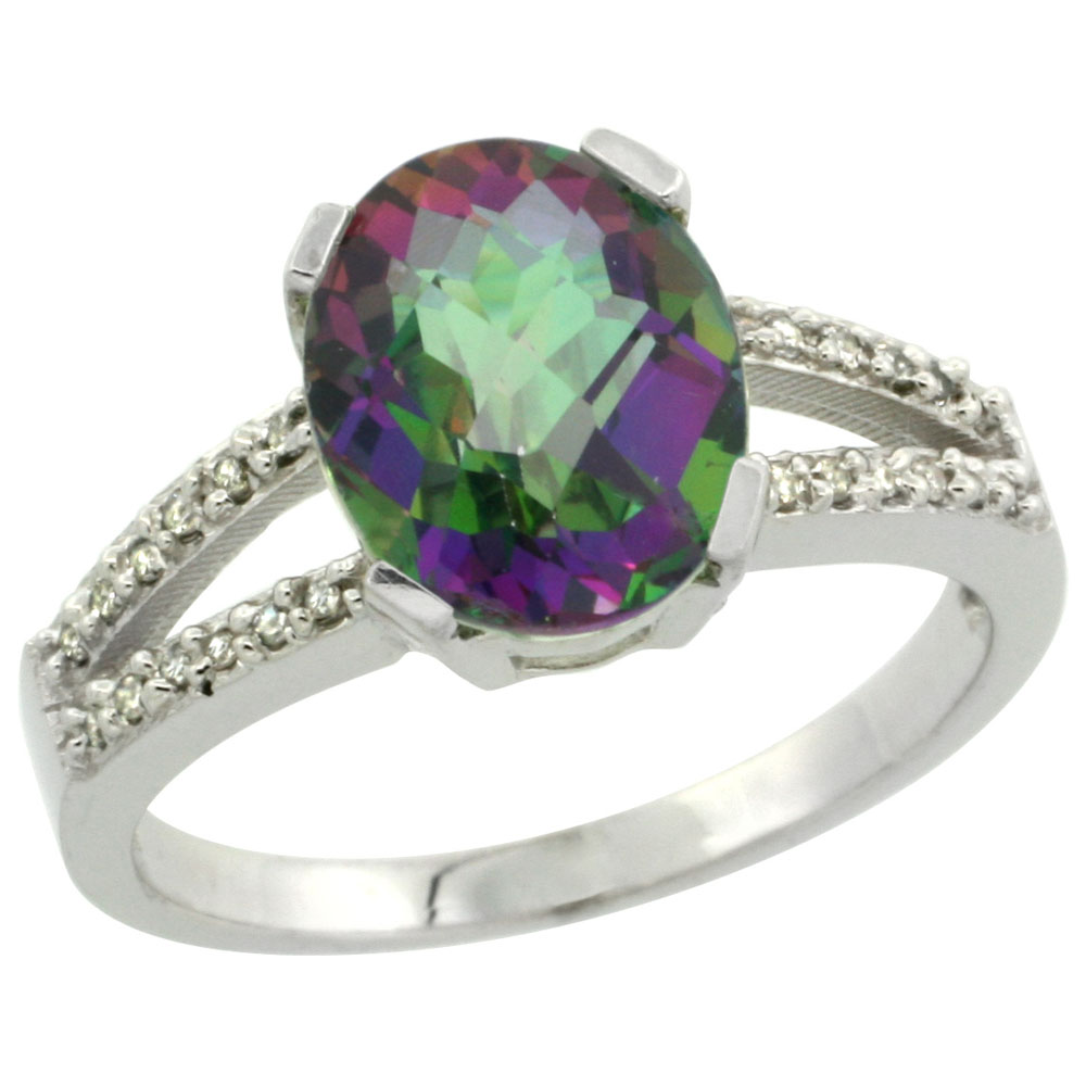 14K White Gold Natural Diamond Mystic Topaz Engagement Ring Oval 10x8mm, sizes 5-10