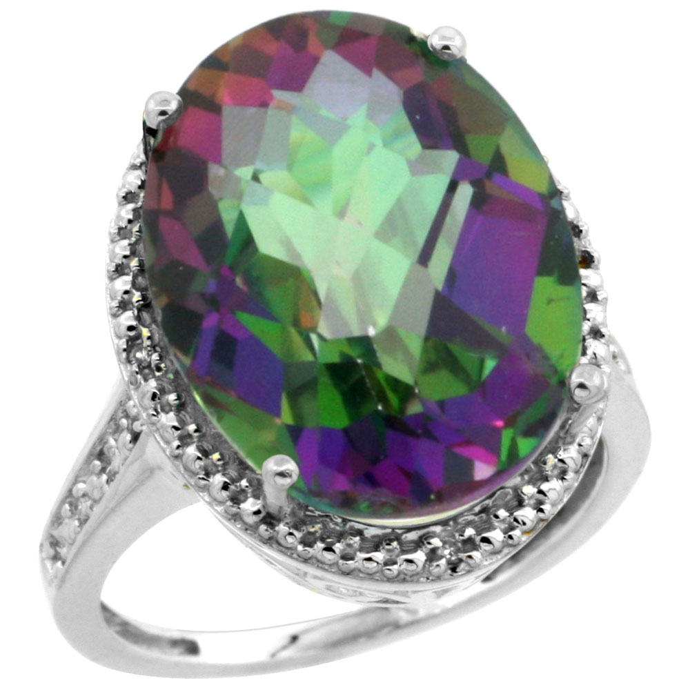 14K White Gold Natural Diamond Mystic Topaz Ring Oval 18x13mm, sizes 5-10