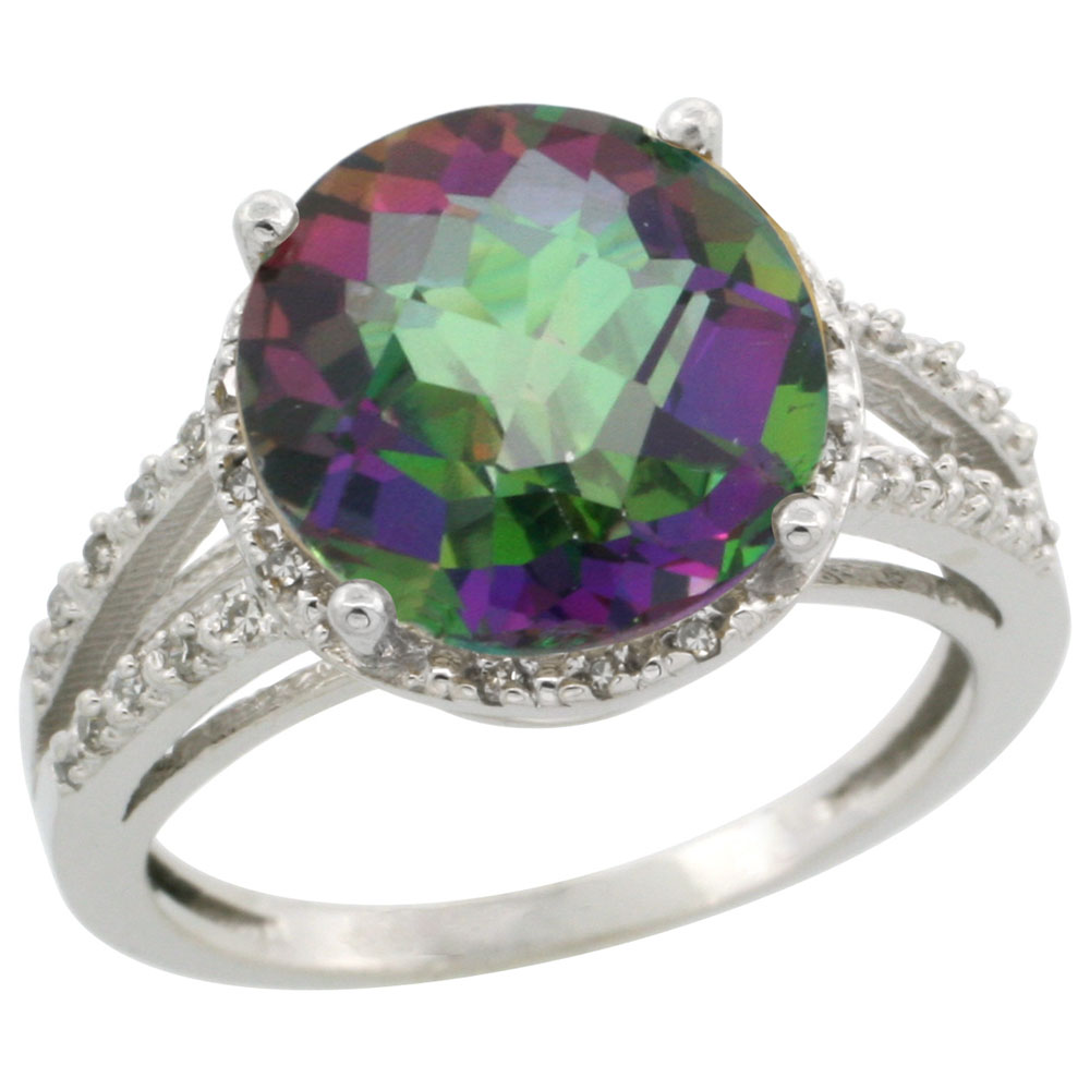 14K White Gold Natural Diamond Mystic Topaz Ring Round 11mm, sizes 5-10