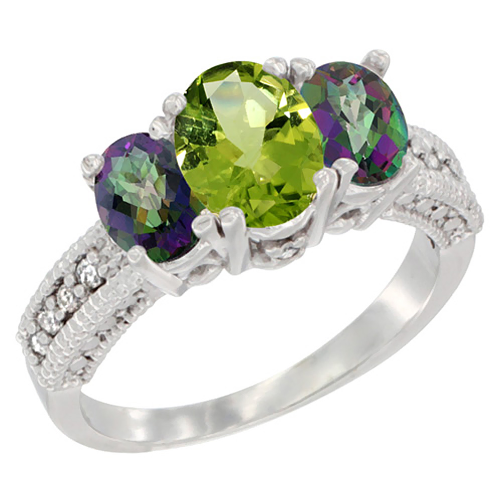 10K White Gold Diamond Natural Peridot Ring Oval 3-stone with Mystic Topaz, sizes 5 - 10