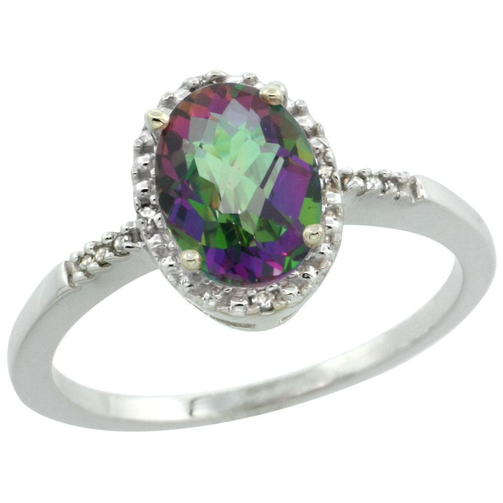 14K White Gold Natural Diamond Mystic Topaz Ring Oval 8x6mm, sizes 5-10