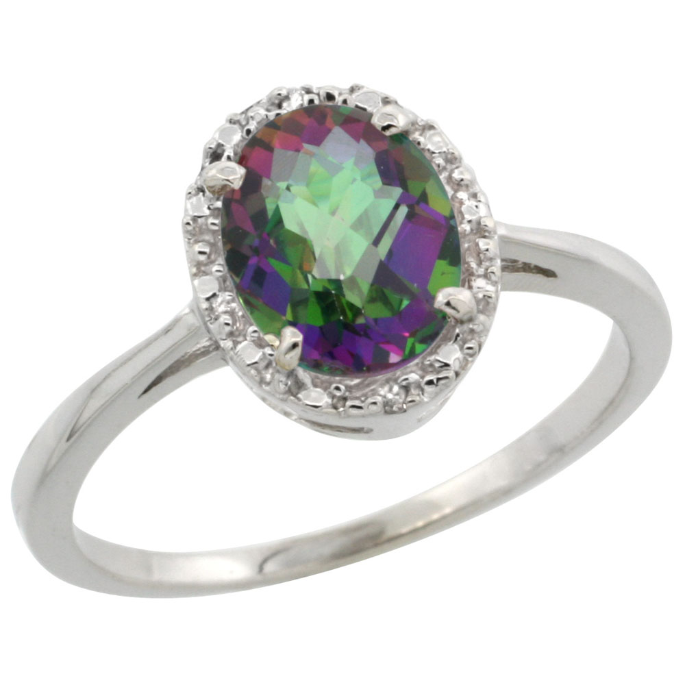 14K White Gold Natural Mystic Topaz Ring Oval 8x6 mm Diamond Halo, sizes 5-10