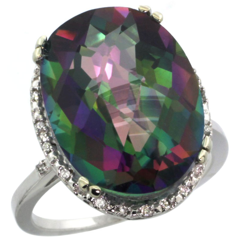 14K White Gold Natural Mystic Topaz Ring Large Oval 18x13mm Diamond Halo, sizes 5-10