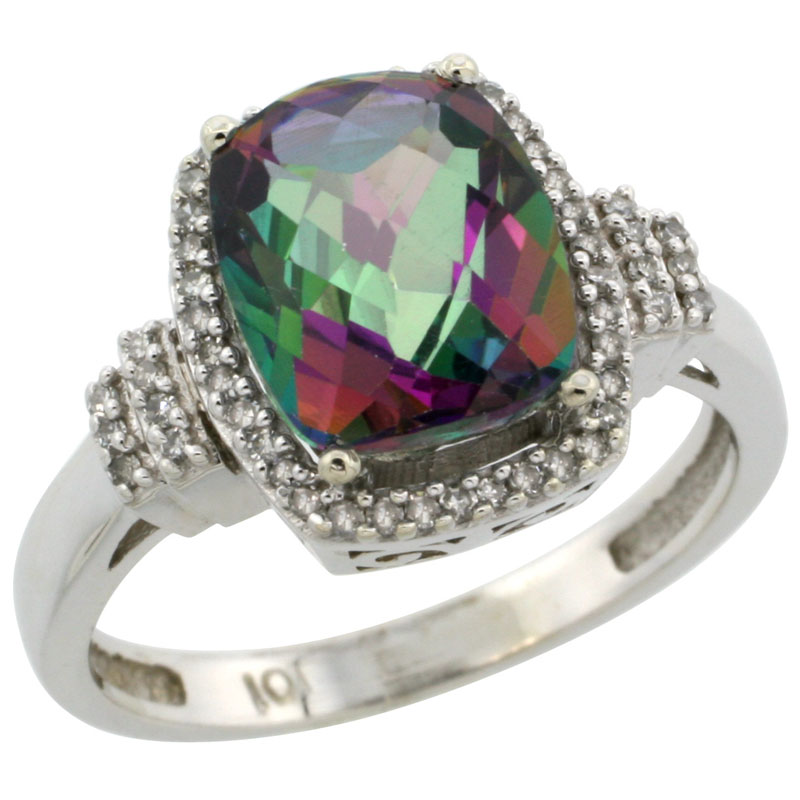 14K White Gold Natural Mystic Topaz Ring Cushion-cut 9x7mm Diamond Halo, sizes 5-10