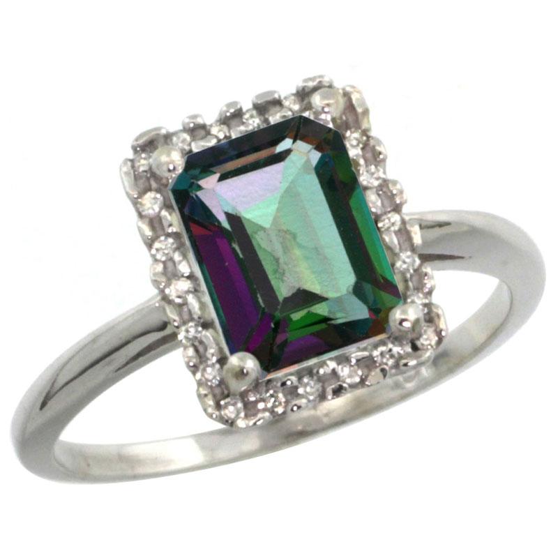 14K White Gold Diamond Natural Mystic Topaz Ring Emerald-cut 8x6mm, sizes 5-10