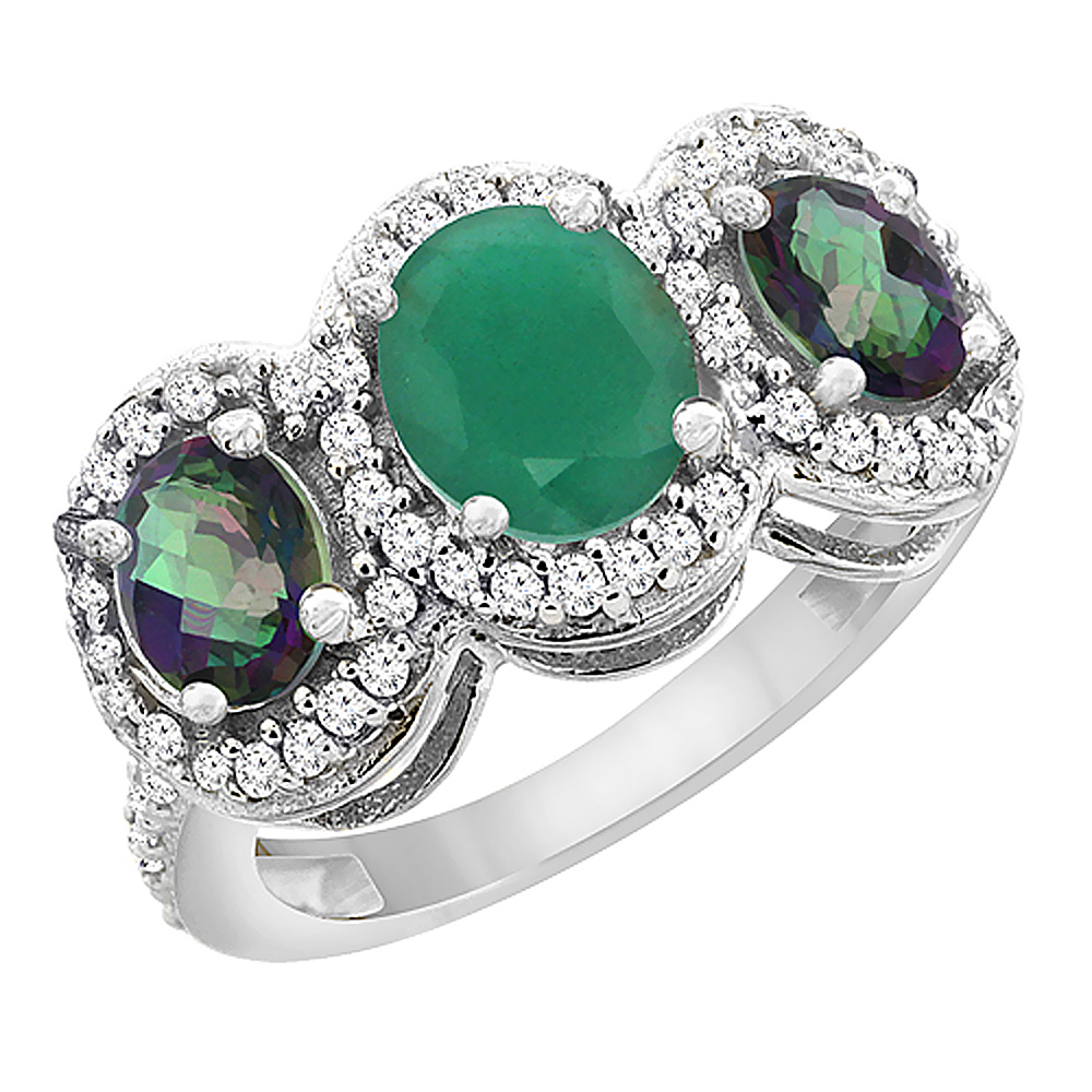 10K White Gold Natural Cabochon Emerald & Mystic Topaz 3-Stone Ring Oval Diamond Accent, sizes 5 - 10