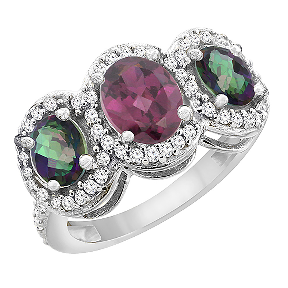 14K White Gold Natural Rhodolite & Mystic Topaz 3-Stone Ring Oval Diamond Accent, sizes 5 - 10