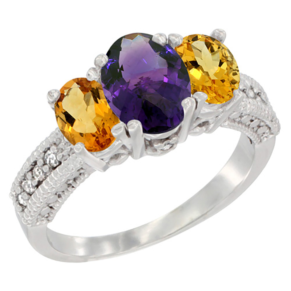 14K White Gold Diamond Natural Amethyst Ring Oval 3-stone with Citrine, sizes 5 - 10