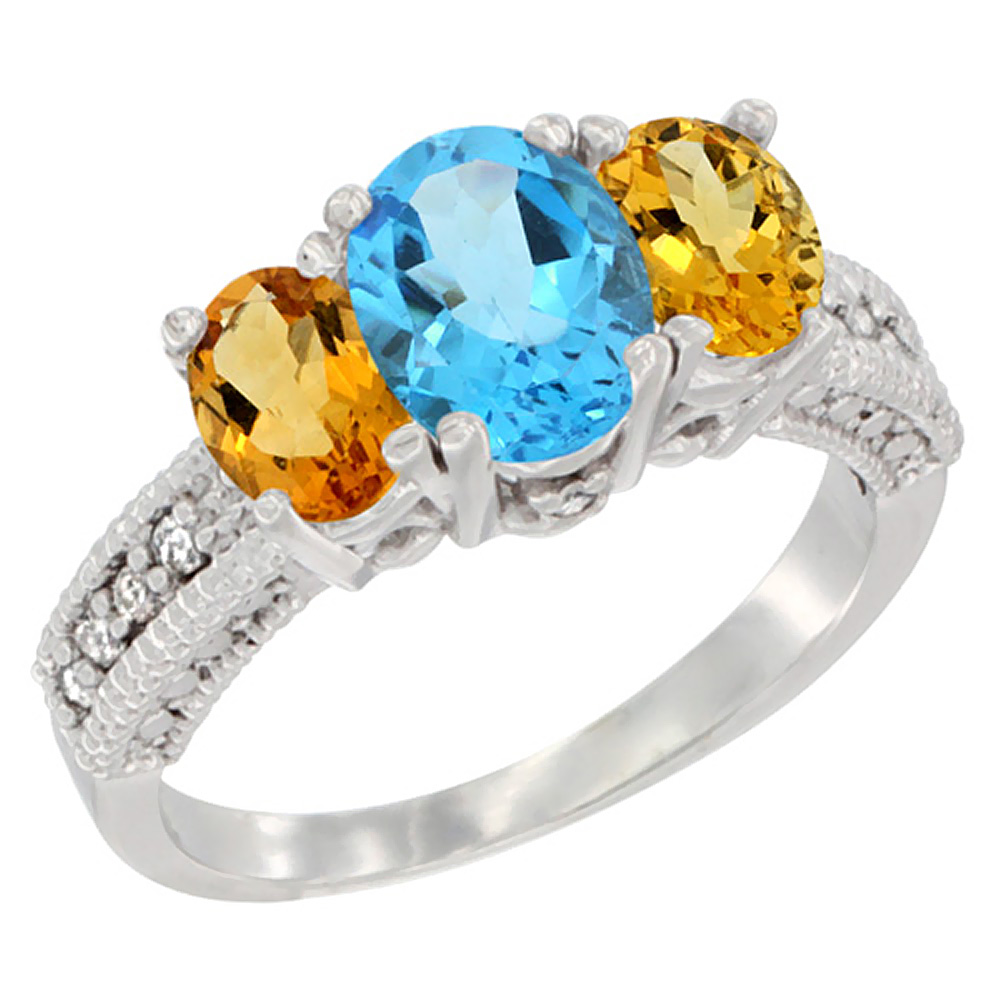 14k Yellow Gold Ladies Oval Natural Swiss Blue Topaz 3-Stone Ring with Citrine Sides Diamond Accent