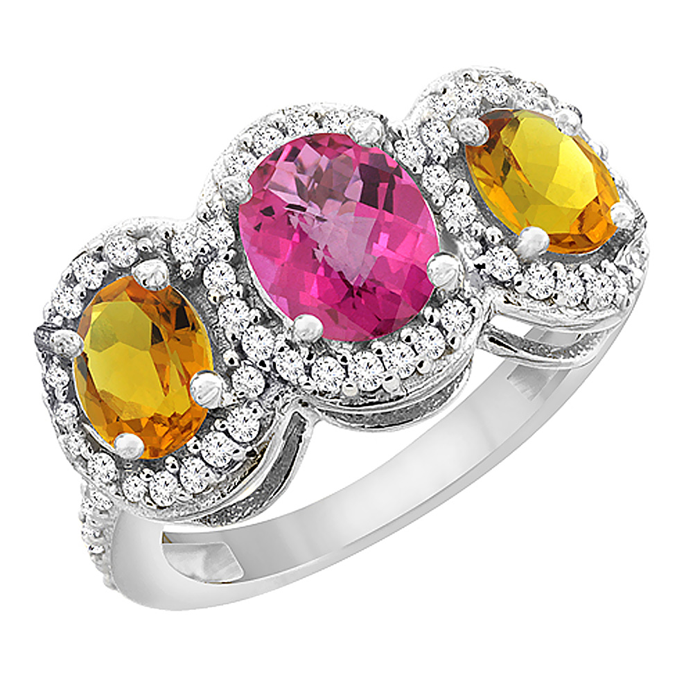 10K White Gold Natural Pink Sapphire & Citrine 3-Stone Ring Oval Diamond Accent, sizes 5 - 10