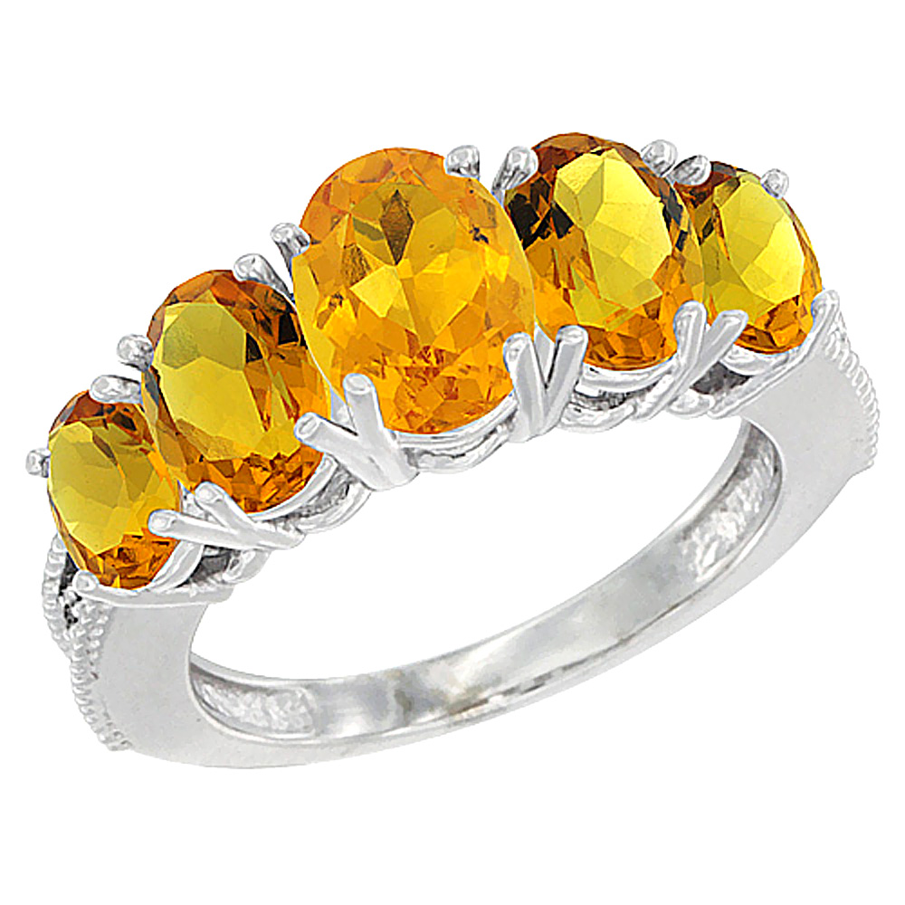 14K White Gold Diamond Natural Citrine Ring 5-stone Oval 8x6 Ctr,7x5,6x4 sides, sizes 5 - 10