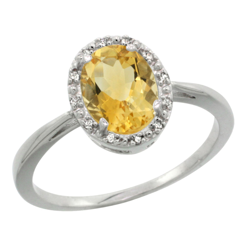 10K White Gold Natural Citrine Diamond Halo Ring Oval 8X6mm, sizes 5-10