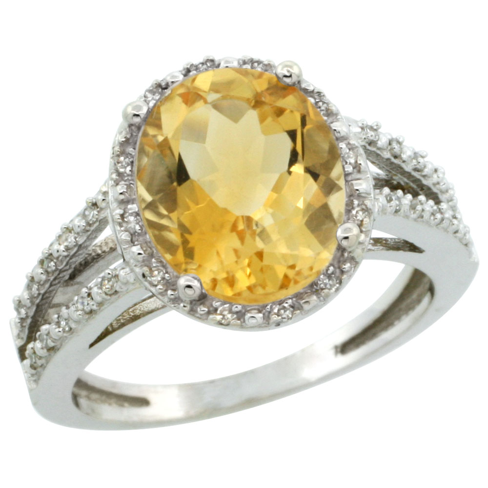 10K White Gold Diamond Natural Citrine Ring Oval 11x9mm, sizes 5-10