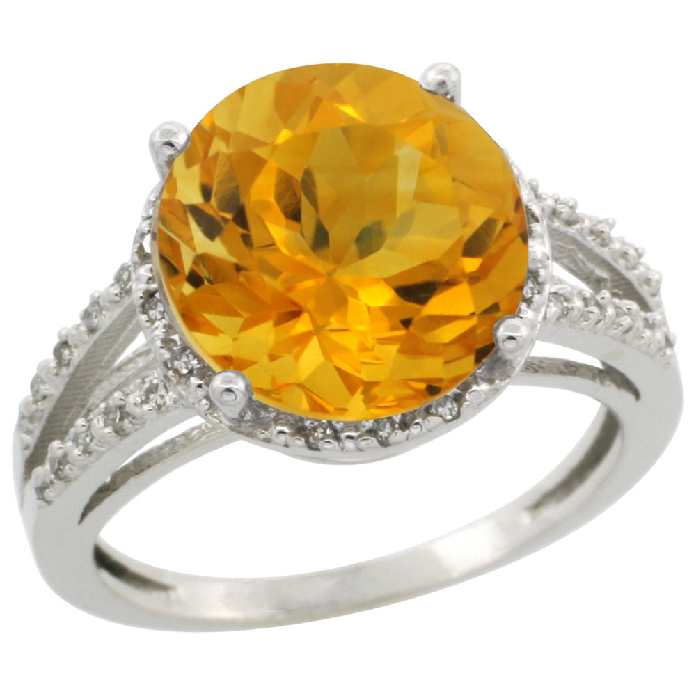 10K White Gold Diamond Natural Citrine Ring Round 11mm, sizes 5-10