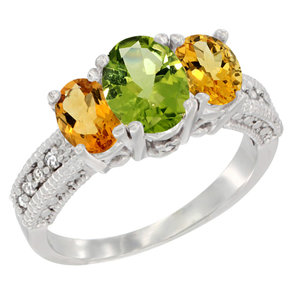 10K White Gold Diamond Natural Peridot Ring Oval 3-stone with Citrine, sizes 5 - 10