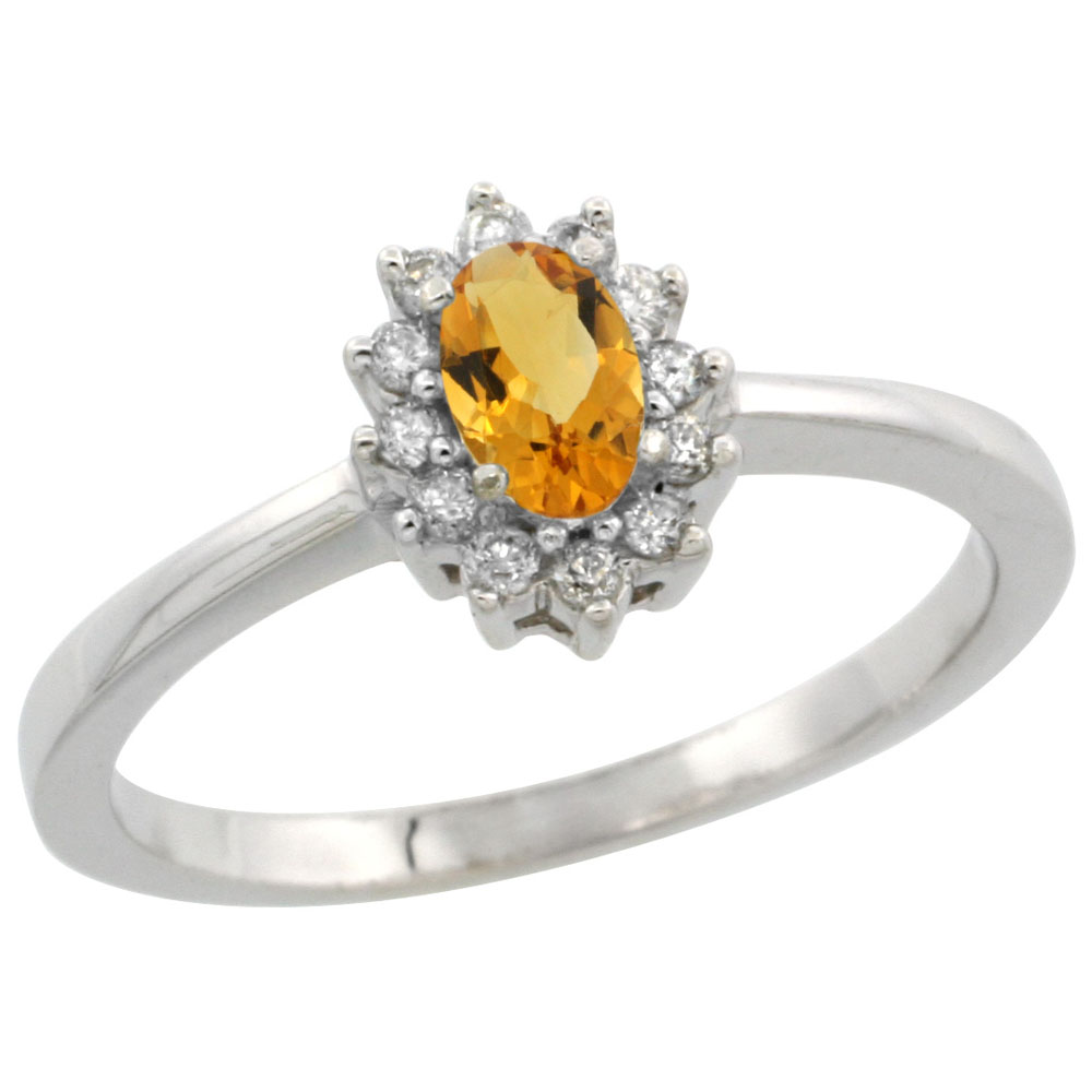 10k White Gold Natural Citrine Ring Oval 5x3mm Diamond Halo, sizes 5-10