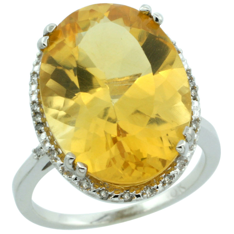 14K White Gold Natural Citrine Ring Large Oval 18x13mm Diamond Halo, sizes 5-10