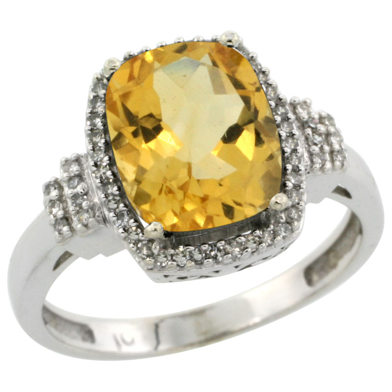 14K White Gold Natural Citrine Ring Cushion-cut 9x7mm Diamond Halo, sizes 5-10