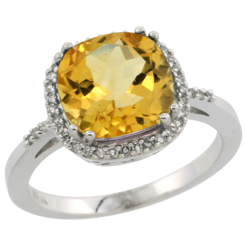 14K White Gold Diamond Natural Citrine Ring Cushion-cut 9x9mm, sizes 5-10