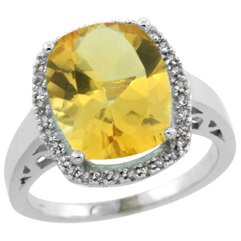 14K White Gold Diamond Natural Citrine Ring Cushion-cut 12x10mm, sizes 5-10
