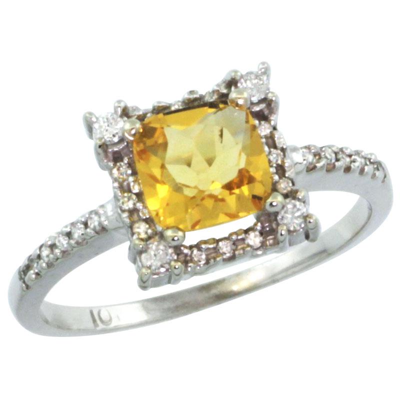 14K White Gold Natural Citrine Ring Cushion-cut 6x6mm Diamond Halo, sizes 5-10