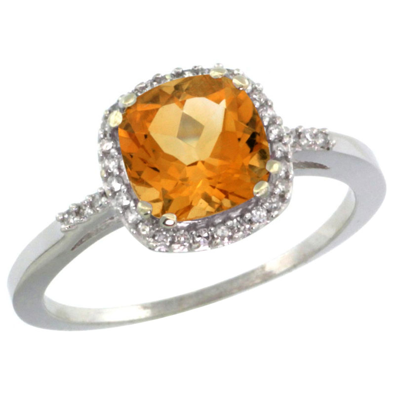 14K White Gold Diamond Natural Citrine Ring Cushion-cut 7x7mm, sizes 5-10