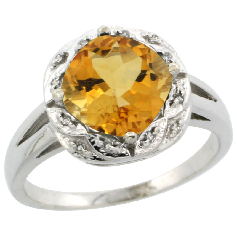 14K White Gold Natural Citrine Ring Cushion-cut 8x8mm Diamond Halo, sizes 5-10