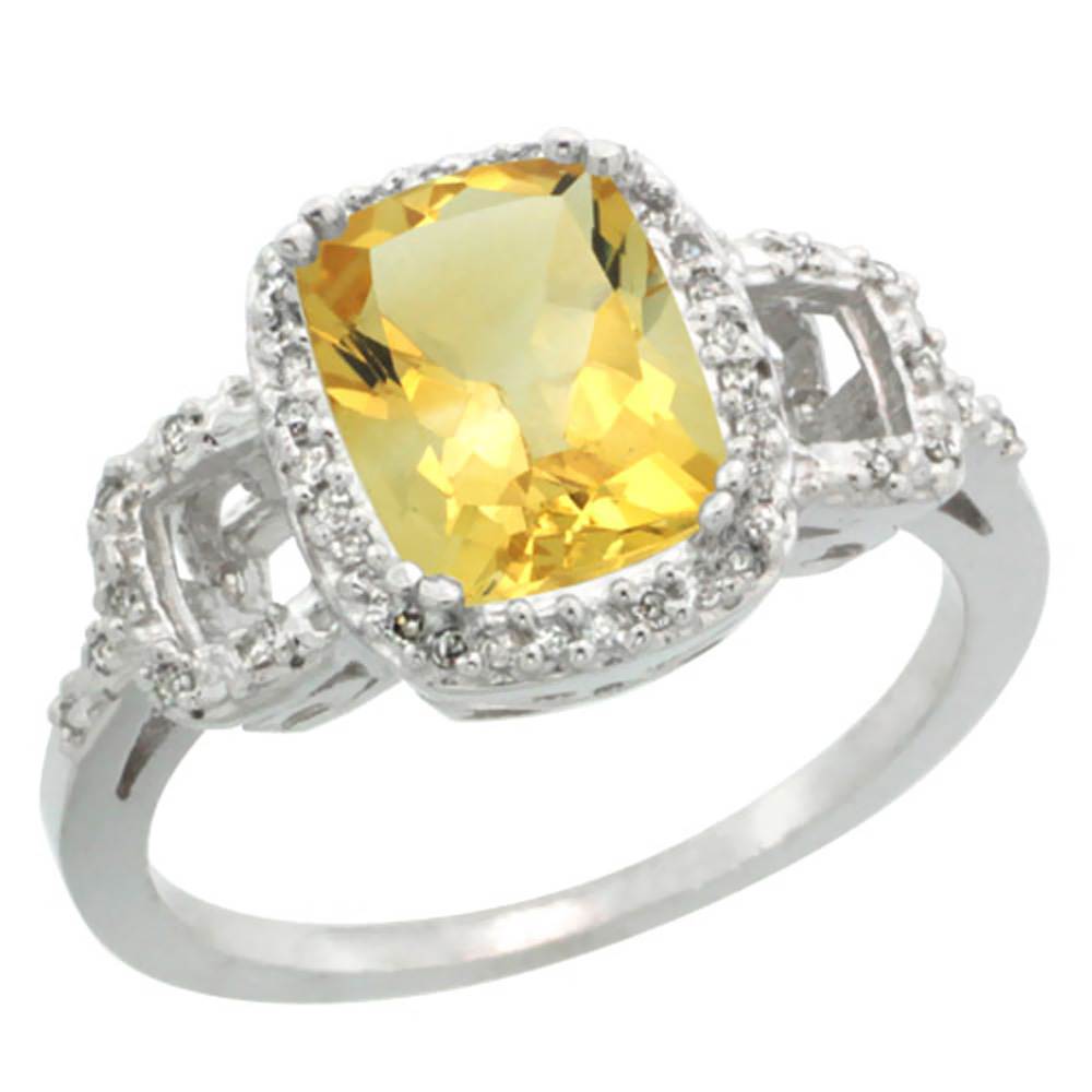 14K White Gold Diamond Natural Citrine Ring Cushion-cut 9x7mm, sizes 5-10