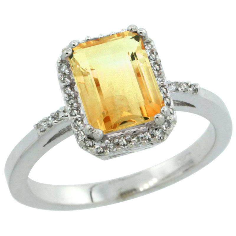 14K White Gold Diamond Natural Citrine Ring Emerald-cut 8x6mm, sizes 5-10