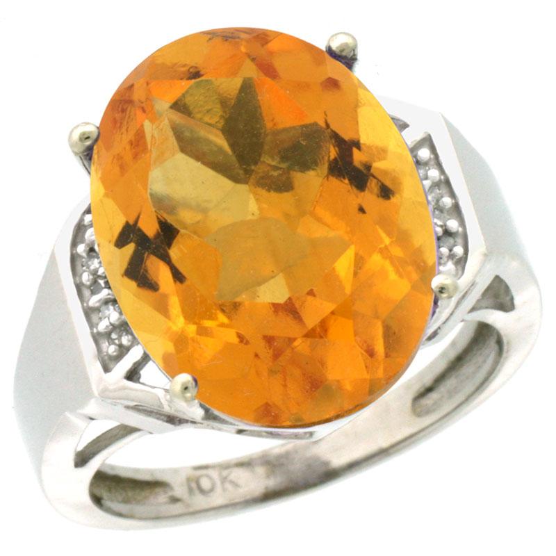 14K White Gold Diamond Natural Citrine Ring Oval 16x12mm, sizes 5-10