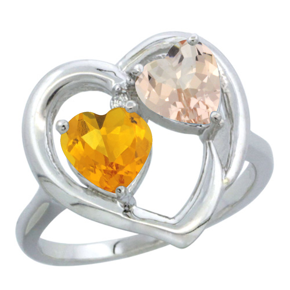 14K White Gold Diamond Two-stone Heart Ring 6mm Natural Citrine & Morganite, sizes 5-10