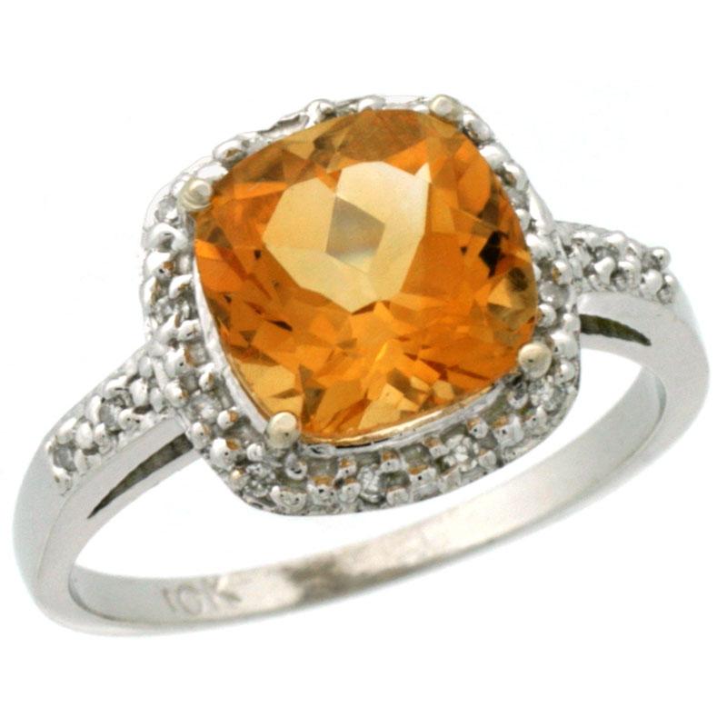 14K White Gold Diamond Natural Citrine Ring Cushion-cut 8x8 mm, sizes 5-10