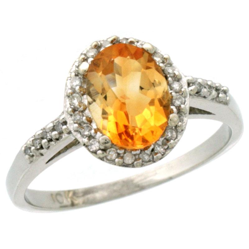 14K White Gold Diamond Natural Citrine Ring Oval 8x6mm, sizes 5-10