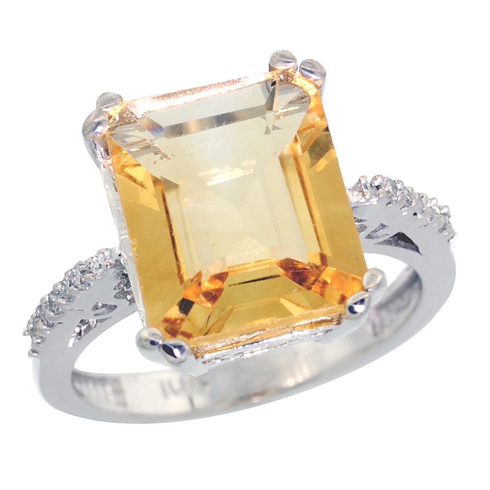 14K White Gold Diamond Natural Citrine Ring Emerald-cut 12x10mm, sizes 5-10