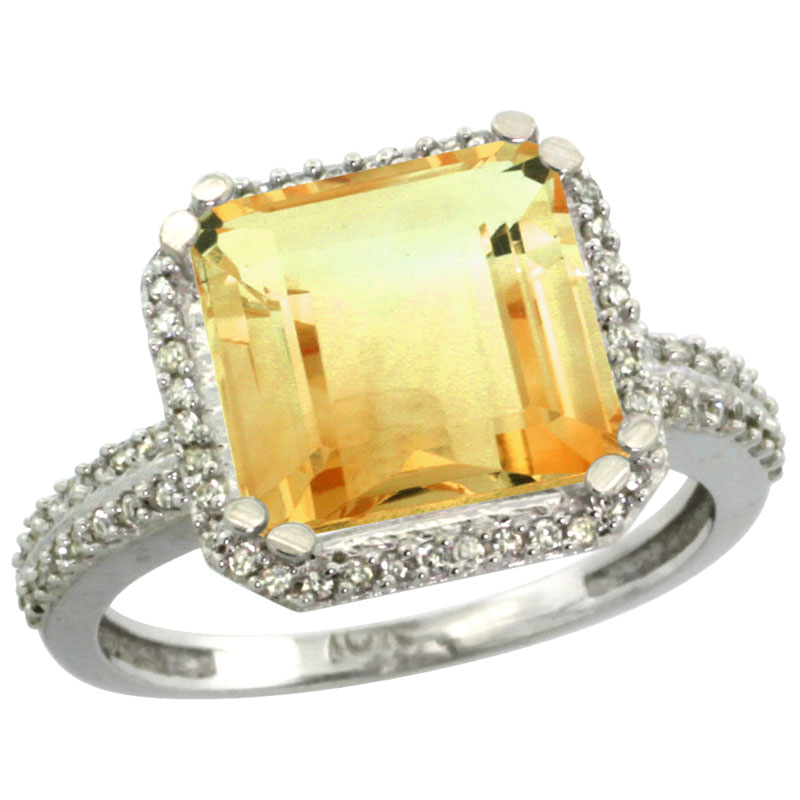 14K White Gold Natural Citrine Ring Cushion-cut 11x11mm Diamond Halo, sizes 5-10