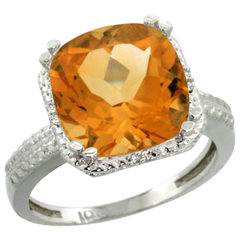 14K White Gold Diamond Natural Citrine Ring Cushion-cut 11x11mm, sizes 5-10
