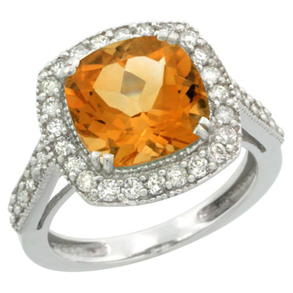 14K White Gold Natural Citrine Ring Cushion-cut 9x9mm Diamond Halo, sizes 5-10