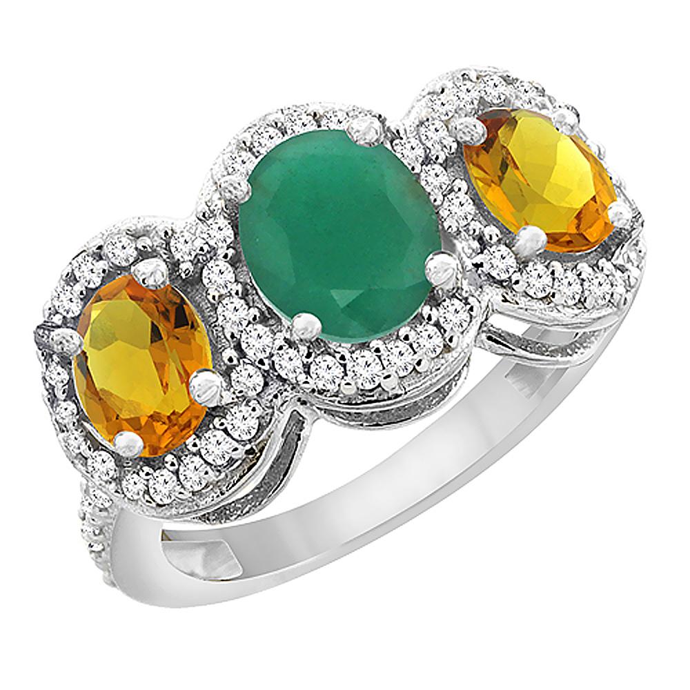 14K White Gold Natural Cabochon Emerald & Citrine 3-Stone Ring Oval Diamond Accent, sizes 5 - 10