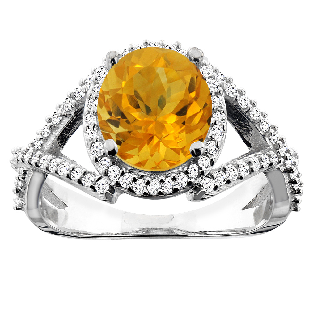 14K White/Yellow/Rose Gold Natural Citrine Ring Oval 9x7mm Diamond Accent, sizes 5 - 10