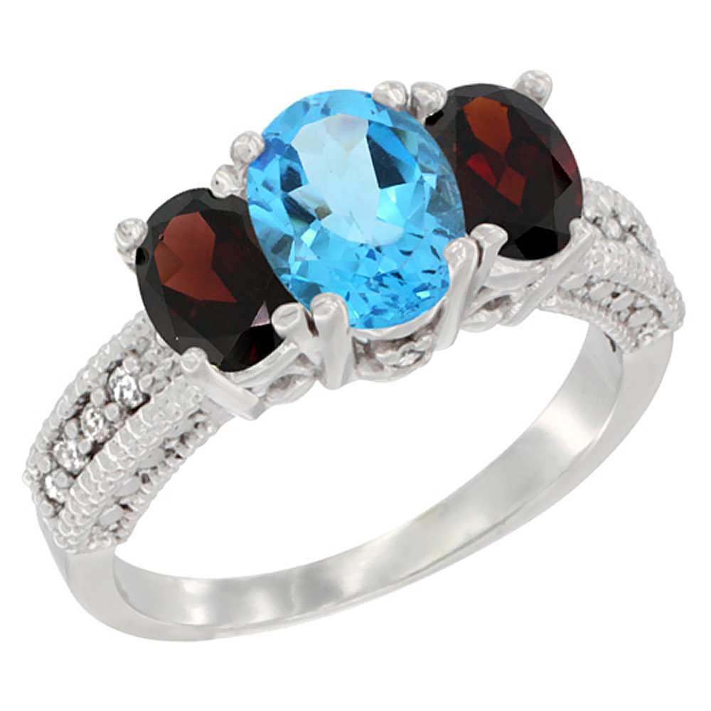 14k Yellow Gold Ladies Oval Natural Swiss Blue Topaz 3-Stone Ring with Garnet Sides Diamond Accent
