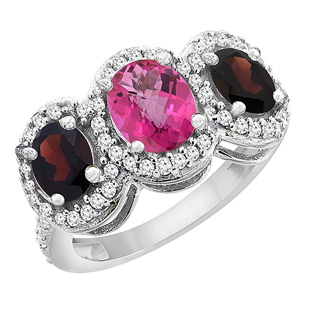10K White Gold Natural Pink Sapphire & Garnet 3-Stone Ring Oval Diamond Accent, sizes 5 - 10