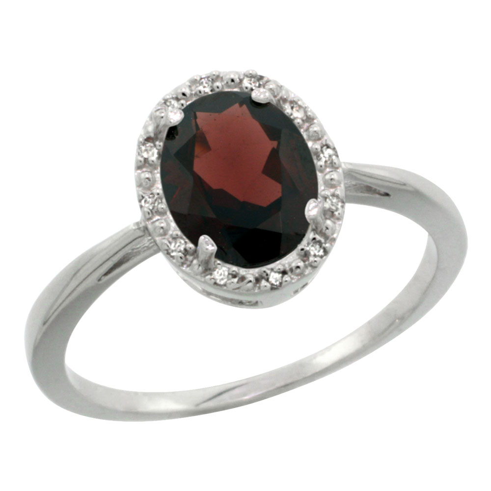 10K White Gold Natural Garnet Diamond Halo Ring Oval 8X6mm, sizes 5-10